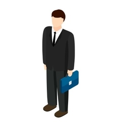 Businessman holding briefcase icon vector