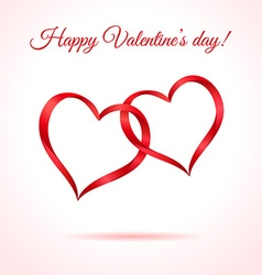 Two red hearts Valentines card or background vector image