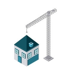 Crane and house icon isometric design vector