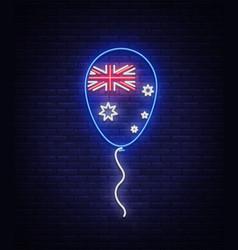 Australian flag balloon neon sign vector