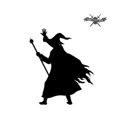 black silhouette of wizard with hat and staff vector image