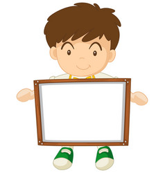 Boy holding white board vector