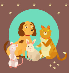 Bright images of domestic animals cat rat dog vector