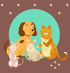 Bright images of domestic animals cat rat dog vector