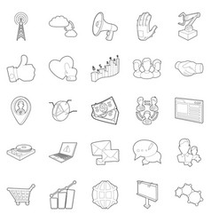 Business scope icons set outline style vector