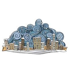 Cartoon abstract winter city vector