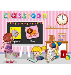 Children reading and painting in classroom vector