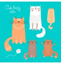 Cute set with cats and kittens vector image vector image