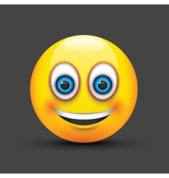 Emoji smiling blue eyes vector