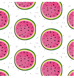 Fresh watermelon slices pattern fruit vector