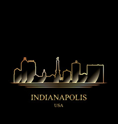 Gold silhouette of indianapolis on black vector