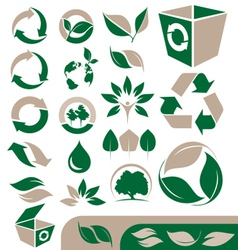 Green and recycling icons set vector image