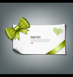 Green ribbon and white paper design background vector image vector image