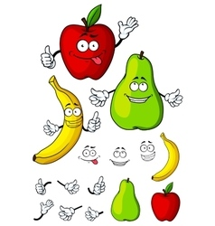 Happy cartoon pear apple and banana fruits vector image