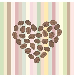 heart made of coffee beans vector image vector image
