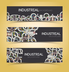 industrial machinery horizontal banners vector image vector image