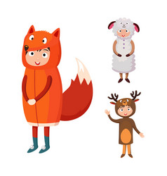 kids different costumes isolated vector image