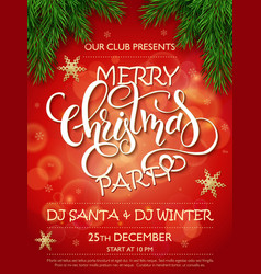 merry christmas party poster with christmas vector image