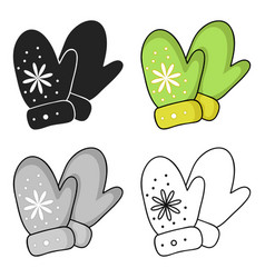 mittens icon in cartoon style isolated on white vector image vector image