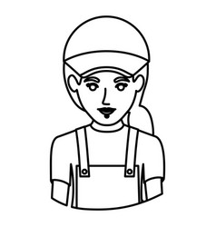 monochrome contour half body of delivery woman vector image vector image