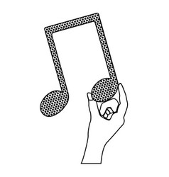 Monochrome silhouette of hand holding the musical vector