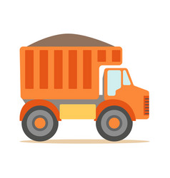 Orange truck loaded with gravel part of vector