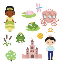 Princess theme with castle frog prince carriage vector