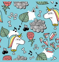 Seamless pattern with unicorn dead head bones and vector