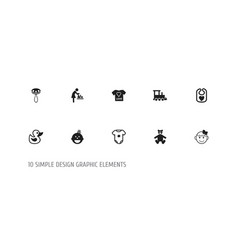 Set of 10 editable child icons includes symbols vector