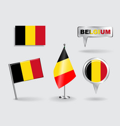 Set of belgian pin icon and map pointer flags vector
