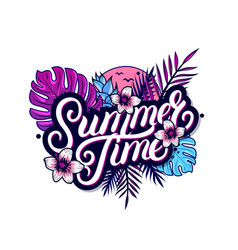 summer time hand written lettering vector image