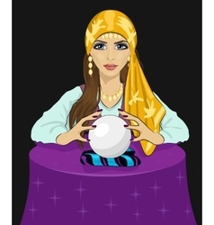 Young fortune teller woman with crystal ball vector