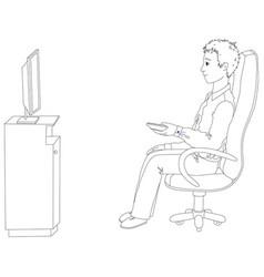 young man sitting in a chair and watching tv vector image