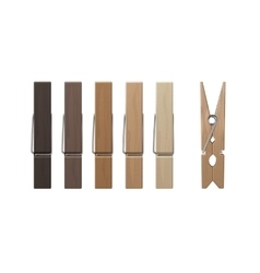 Set of wood clothespins pegs colored on background vector
