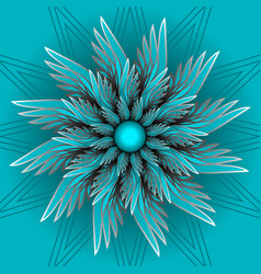 Blue fantasy flower in optical art style vector