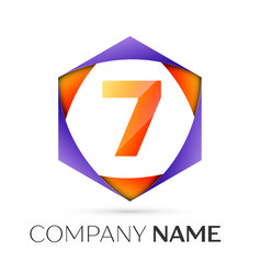 number seven logo symbol in the colorful hexagonal vector image