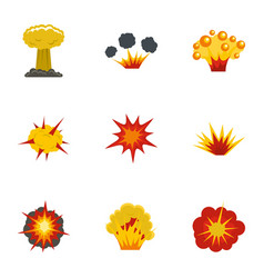 explosion effect icons set flat style vector image