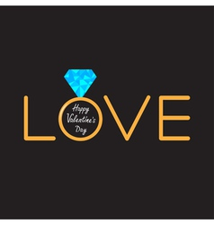 Wedding ring diamond word love valentines card vector