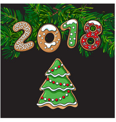 2018 new year greeting card gingerbread cookie vector image