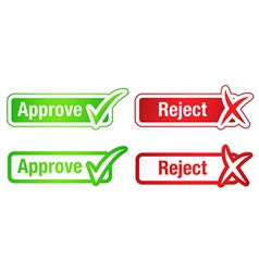 Approve reject buttons with checkmarks vector
