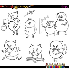 Piglet student cartoon coloring page vector