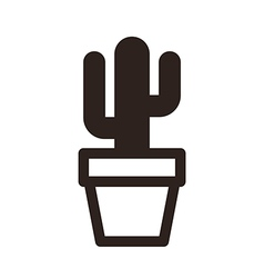 Cactus in pot icon vector