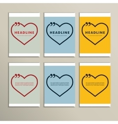 Six beautiful hearts on a colorful background vector