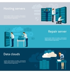 Datacenter banner set vector
