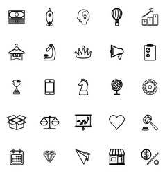 Marketing strategy line icons on white background vector