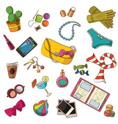 cute doodle female things vector image