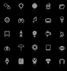 Seo line icons with reflect on black background vector