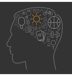 Icons leisure human brain vector