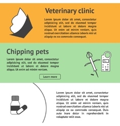 Veterinary banners set with vet clinic pet care vector