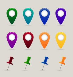 Set of map pins and markers vector image